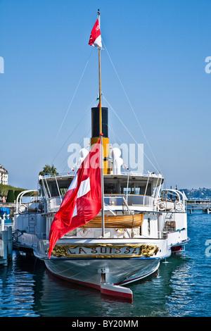 The lake steamer La Suisse moored at a dock on Lake Geneva, Geneva, Switzerland - Stock Photo