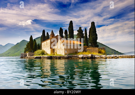 St George Island Kotor Bay, Perast Montenegro - Stock Photo