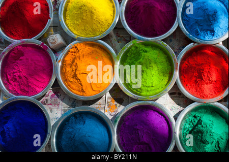 Looking down on Coloured Indian rice powder in metal bowls used for making rangoli designs at festivals. Andhra - Stock Photo