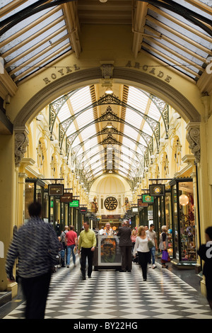Australia, Victoria, Melbourne.  Shoppers in the Royal Arcade.  Built between 1869 and 1870 the arcade is the city's - Stock Photo