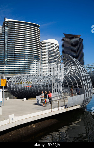 Australia, Victoria, Melbourne, Docklands.  The Webb Dock Bridge - its design was inspired by Aboriginal Koorie - Stock Photo