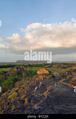 Australia, Northern Territory, Kakadu National Park, Ubirr.  Sunset at the sacred Aboriginal site of Ubirr, overlooking - Stock Photo