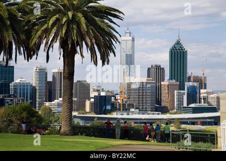 Australia, Western Australia, Perth.  View of the city skyline from Kings Park. - Stock Photo