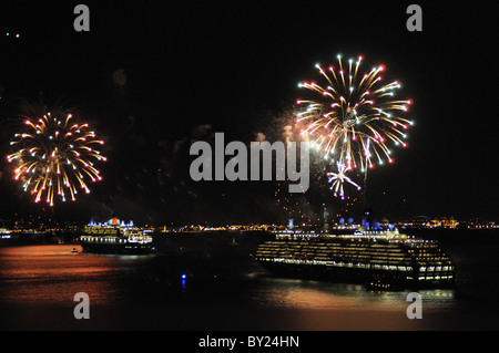 Fireworks in New York City on Jan. 13, 2011 celebrated the maiden call of Cunard's newest ship, Queen Elizabeth. - Stock Photo