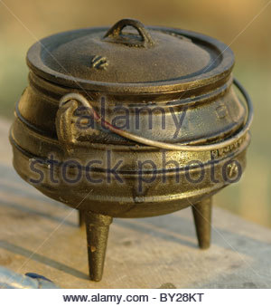Traditional African three legged pot made in South Africa - Stock Photo