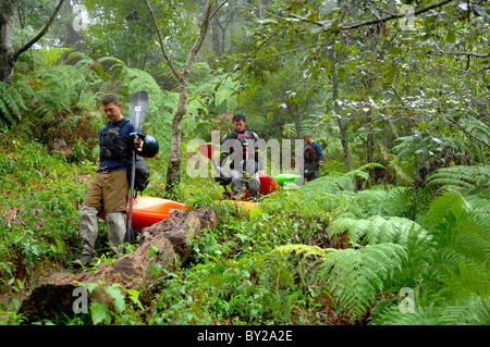 Three kayakers hike through the jungle of Veracruz Mexico. - Stock Photo