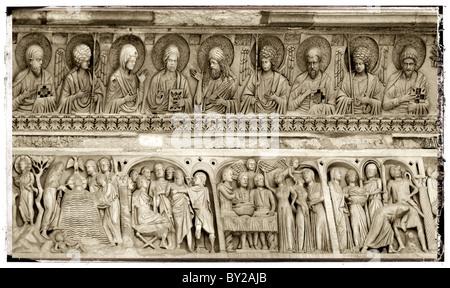 Bas relief feeze above the door of the Baptistry of Pisa Duomo, Italy - Stock Photo
