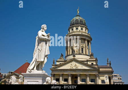 The French Cathedral and the Schiller monument at Gendarmenmarkt, Berlin, Germany - Stock Photo