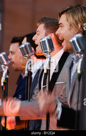The Overtones, British doo-wop band from London. BELFAST 14/01/2011 Stock Photo