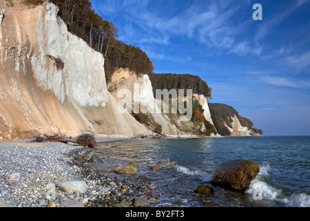 Chalk cliffs and beach in Jasmund National Park on Rugen / Rügen Island on the Baltic Sea, Germany - Stock Photo
