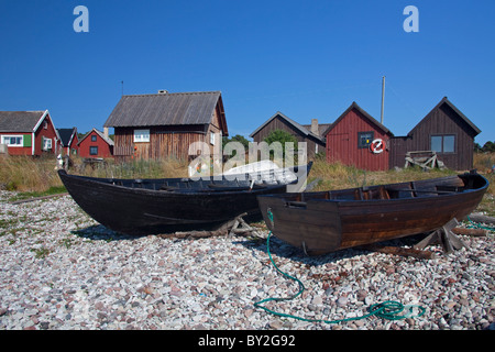 Fishing boats at the village Nyhamn, Gotland, Sweden - Stock Photo