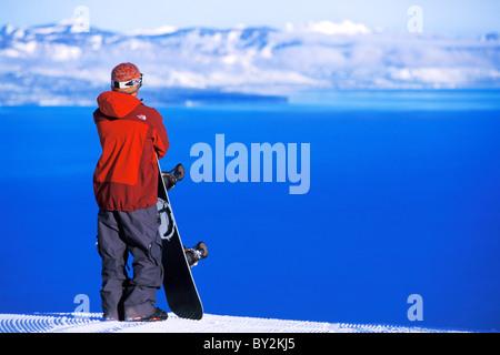 Snowboarding in Lake Tahoe. - Stock Photo