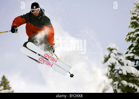 Skiing in Lake Tahoe. - Stock Photo