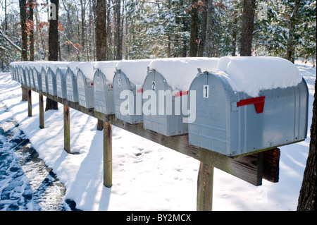 A row of snow covered mailboxes against a wooded backdrop. - Stock Photo