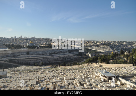 Jerusalem: the temple Mount seen from Olive's Mount with jewish cemetery - Stock Photo