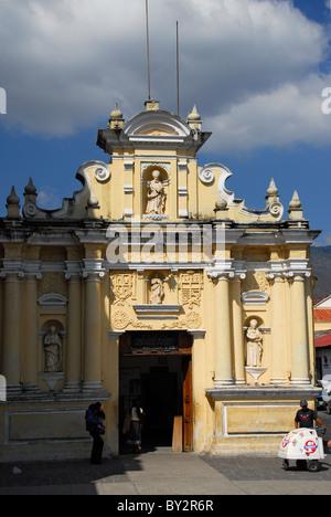 Facade of  San Hermano Pedro Church in Antigua, Sacatepequez Department, Guatemala, Central America - Stock Photo