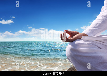 Man relaxing on the beach. - Stock Photo