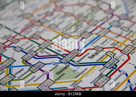 Close up of Tokyo station on the subway map. - Stock Photo