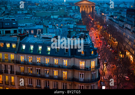 Paris, France, Old Office and Residential Buildings, Outside, Dusk, Skyline - Stock Photo