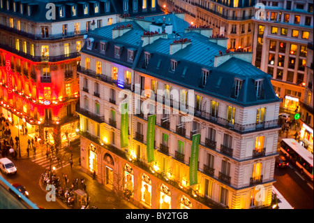 Paris, France, Aerial View, Old Office and Residential Buildings, Outside, Dusk, Benetton Store, Boulevard Haussmann - Stock Photo