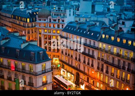 Paris, France,  Cityscape, From High Angle,  Outside, Dusk, 'Boulevard Haussmann' - Stock Photo