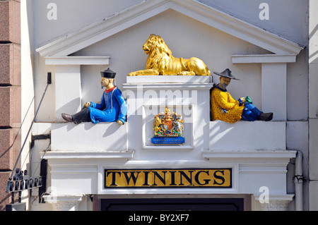 Colourful close up of sign and Royal Warrant above Old Twinings Tea Shop (brand owned by Associated British Foods) - Stock Photo
