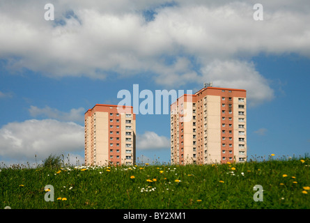 High rise flats in housing estate in Leeds West Yorkshire UK - Stock Photo