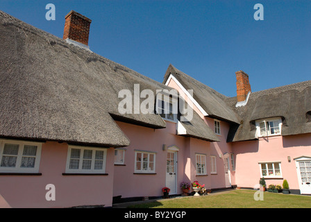 Thatched roof house Clare Suffolk UK - Stock Photo