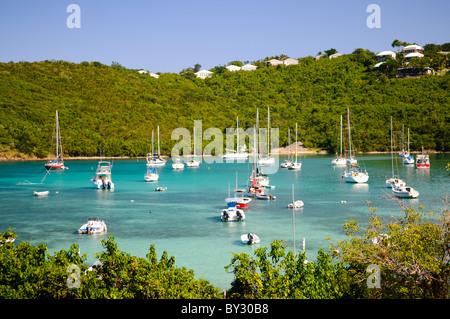 ST JOHN, US Virgin Islands - Yachts moored in the natural harbor of Cruz Bay on St. John in the US Virgin Islands. - Stock Photo