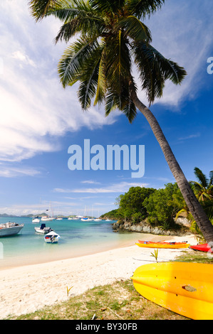 ST JOHN, US Virgin Islands - View of one of the small beaches of Cruz Bay harbor on St. John in the US Virgin Islands. - Stock Photo
