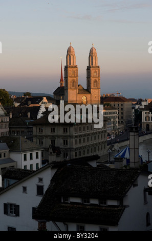 Old Town with the Grossmuenster in evening light, Zurich, Switzerland - Stock Photo