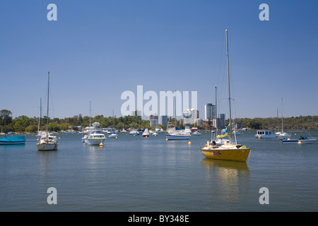 Yachts and boats moored on the calm waters of Matilda Bay on the Swan River, Perth. Western Australia - Stock Photo