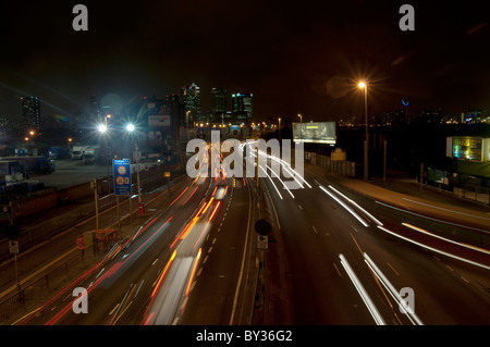 Blackwall London traffic at the blackwall tunnel london night time queue - Stock Photo