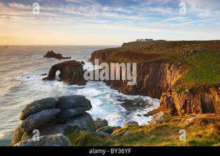 Dramatic coastline along the Penwith Peninsula at Land's End the most Westerly point of England - Stock Photo