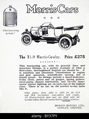 Original advert for Morris Motors Ltd 11.9 Morris-Cowley Bullnose car manufactured from 1920 to 1926 in Cowley Oxford - Stock Photo