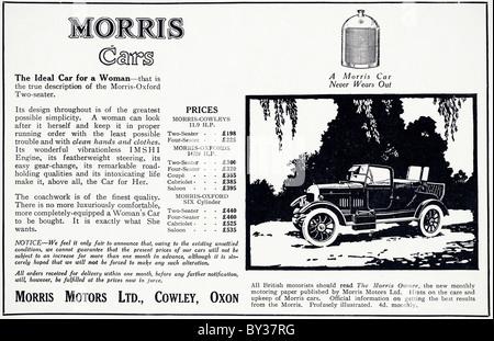 Original advert for Morris Motors Ltd 11.9 Morris-Oxford Bullnose car manufactured from 1920 to 1926 in Cowley Oxford - Stock Photo