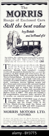 Original advert for Morris Motors Ltd 14/28 Morris-Oxford Bullnose car made from 1925 to 1926 in Cowley Oxford England - Stock Photo