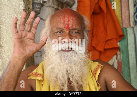 Portrait of a Sadhu sat in the Temple complex, Jagdish Temple, Udaipur, Rajasthan, India - Stock Photo