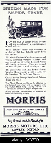 Original advert for Morris Motors Ltd Morris-Oxford & Cowley Bullnose saloon car made from 1920 to 1926 in Cowley - Stock Photo