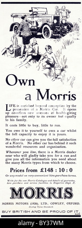 Original advert for Morris Motors Ltd Morris cars manufactued from 1926 to 1931 in Cowley Oxford England UK - Stock Photo