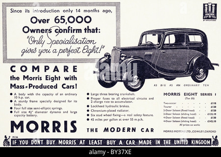 Original advert for Morris Motors Ltd Morris Eight Series 1 car manufactued from 1935 to 1937 in Cowley Oxford England - Stock Photo