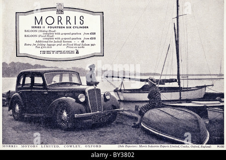 Original advert for Morris Motors Ltd Morris Fourteen Six Series 2 car manufactured from 1936 to 1939 in Cowley - Stock Photo