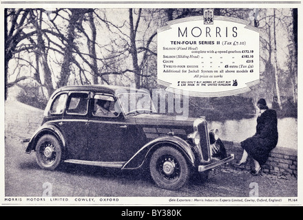 Original advert for Morris Motors Ltd Morris Ten Four Series 2 car manufactued from 1935 to 1937 in Cowley Oxford - Stock Photo