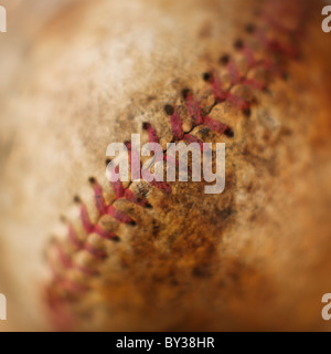 Seam on antique baseball - Stock Photo