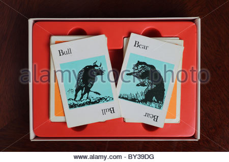 Bull and Bear Cards From The Game Pit - Stock Photo