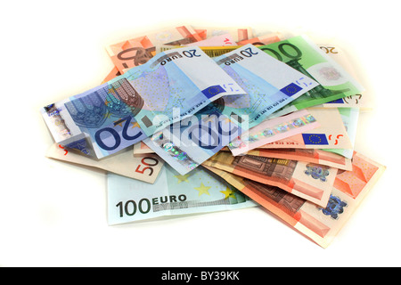 a big pile of euro notes on a white background - Stock Photo
