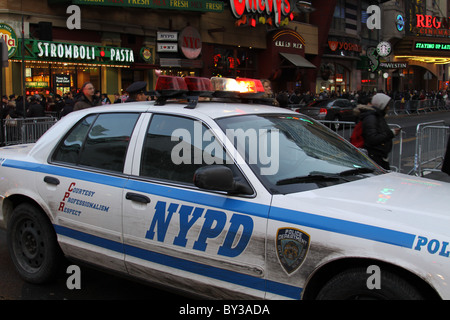New York-Dec. 31, 2010, An NYPD police car  at 4New Years Eve,  NYPD police car,  New York City 42nd St. and 8th - Stock Photo