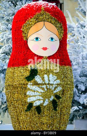 Christmas decoration; Russian doll; Poupée Russe; Puteaux near Paris; France - Stock Photo