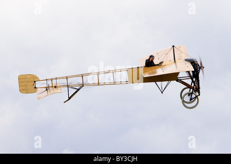Bleriot XI Flyer plane replica displaying at Duxford Flying Legends Airshow - Stock Photo