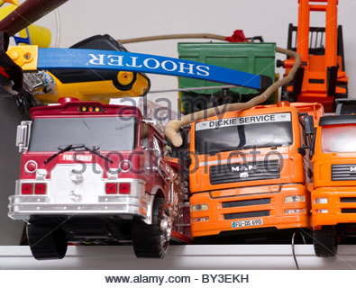 Childrens toys - Toy trucks and lorries - Stock Photo